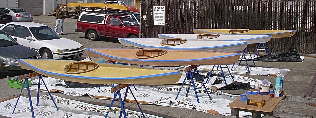 Five SC-1 kayaks nearing completion in Brian Shultz' class