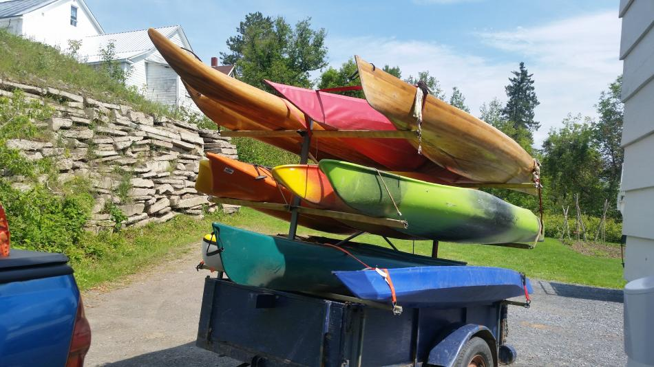 lightly loaded kayak trailer