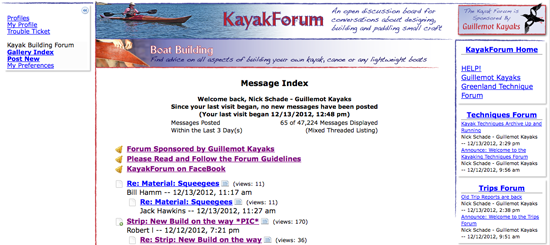 Old Kayak Forum Screen Shot