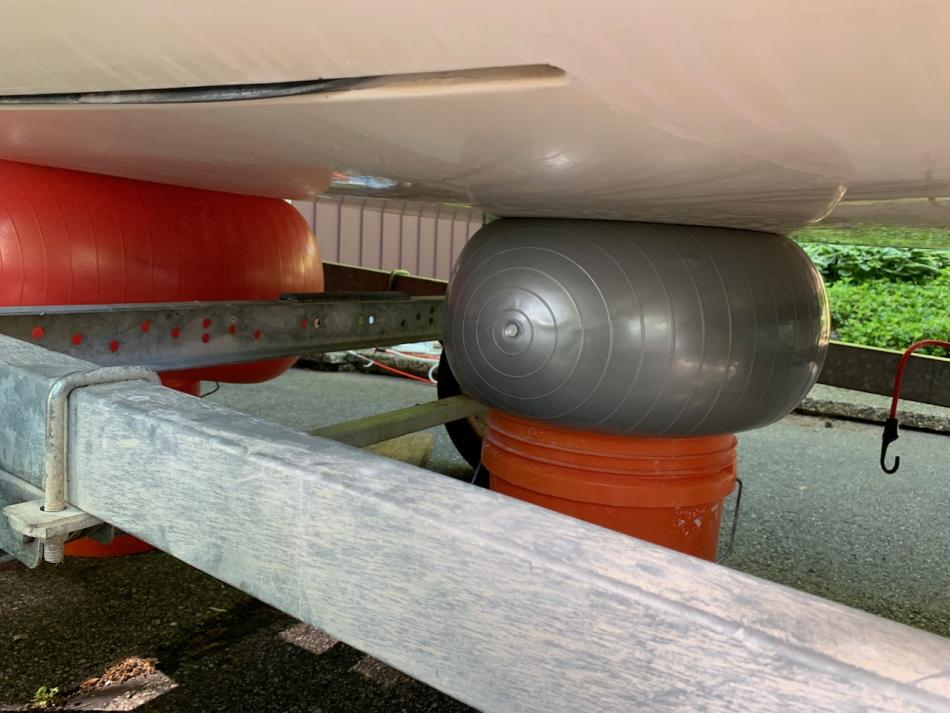 Exercise balls to press on hull